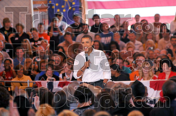 Crowd pleaaser: Senator Barack Obama addresses a crowd gathered at the Wabash Valey fairgrounds Saturday afternoon. He spoke primarily on economic matters and took a few questions from the audience.