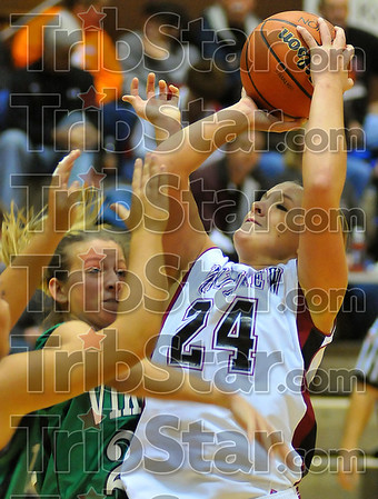 Hack attack: Spring Raines winces as she is fouled late in the Knights' game with West Vigo Friday night in teh Northview gym.