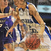 Driving lesons: Deja Mattox takes the ball inside against Kansas State defneder Kelsey Nelson.