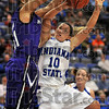 Tall timber: ISU guard Leah Phillips has her shot blocked by Kansas State forward Marlies Gipson in first half action Saturday night in Hulman Center.