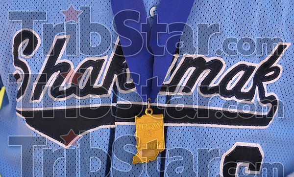 Award winners: Shakamak's Luke McKinley wears his Class A state baseball champion medal after it was presented to him Saturday, June 14 at Victory Field in Indianapolis.