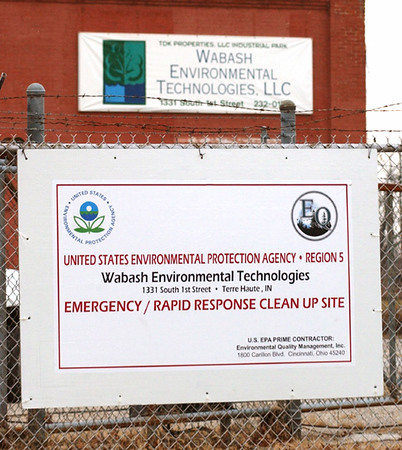 Clean up: Signage on the front of Wabash Environmental Technologies property at 1st and Washing ton notifies passersby of the site's status.