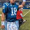 Feel good win: Indianapolis quarterback Peyton Manning acknowledges the crowd as he walks off the field after the Colts defeated New England Sunday in Indianapolis.
