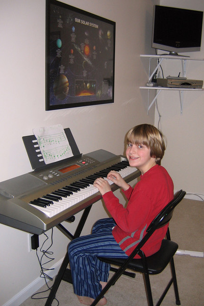 Anthony and the new keyboard from Santa