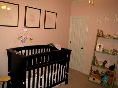 """Finally """"finished"""" Anna's room - Added the green shelf distressed & painted by Mommy, and we put more stuff on the walls!"""