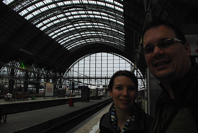 Frankfurt Hauptbahnhof waiting to head on a U-bahn subway train to our hotel.