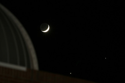A rare occurrence during which Venus and Saturn can be seen beside the Moon; December 1, 2008