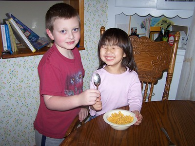 Noah being kind. He got Kaara a spoon because she didn't want a fork for her Mac & Cheese. Sunday School asked for a photo of kids doing something kind this week as they are learning the virtue of kindness.