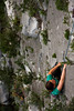 Shasta sticks to the beautiful limestone on <i>Blind Faith 5.11a</i>.