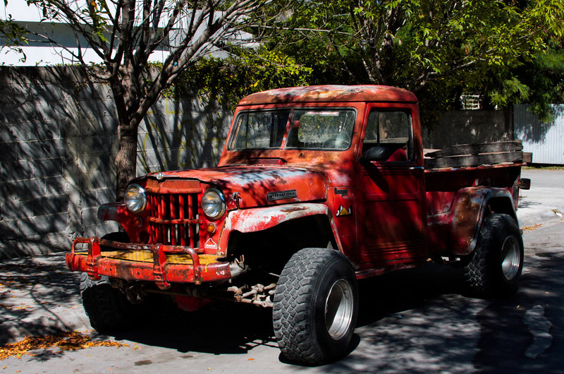 A local truck sits on the street in Hidalgo, an aging relic proclaiming the skills of the local mechanics who keep it running after all these years..