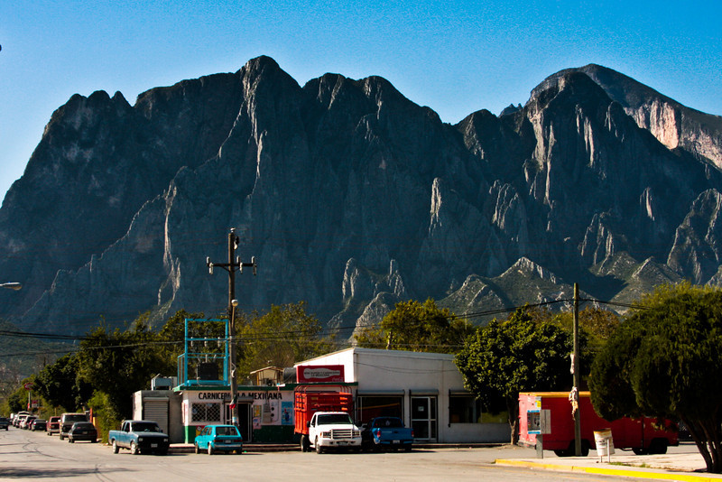 The walls of El Potrero Chico rise towering over the horizon in the little town of Hidalgo.