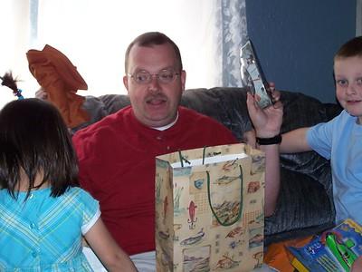 Kaara gave Dad a heat gear shirt and a Millenium Falcon model