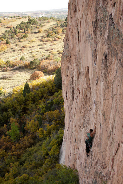 Kelsey works his way up a route at Garden of the Gods.