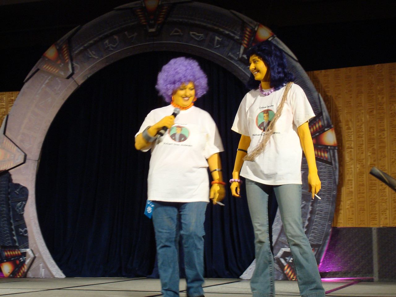 Costume contest. Patti and Selma (from The Simpsons; they're MacGyver fans).