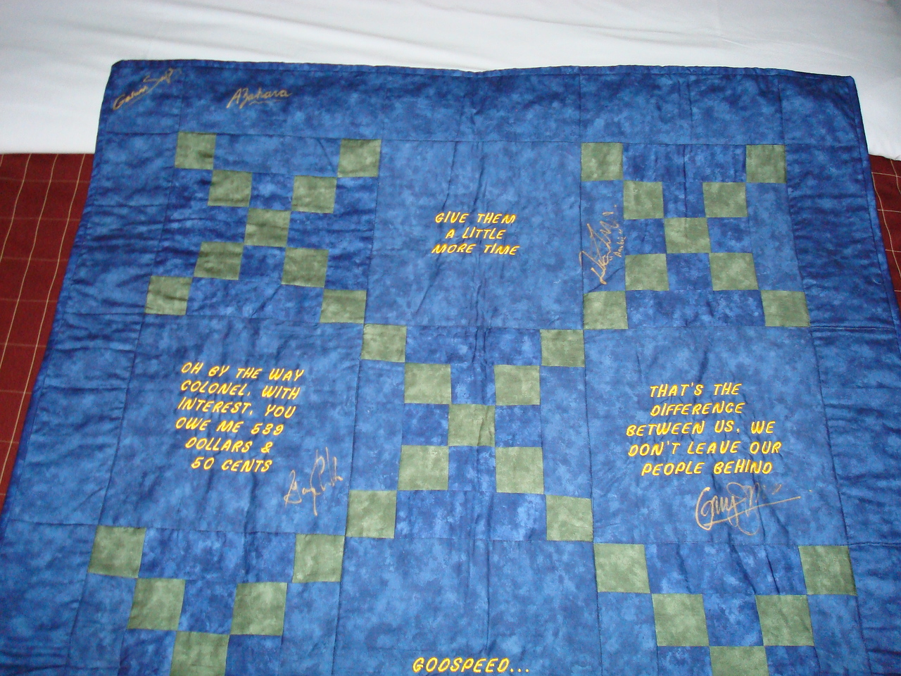The quilt I got at the auction. It has things General Hammond said on it as a tribute to Don S. Davis, who died on 29 June 2008.