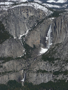 Yosemite Falls and its snow cone across the Valley.