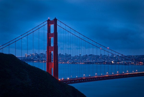The first pilon of the SF Golden Gate Bridge, at sunrise. Taken from the Marin Headlands.