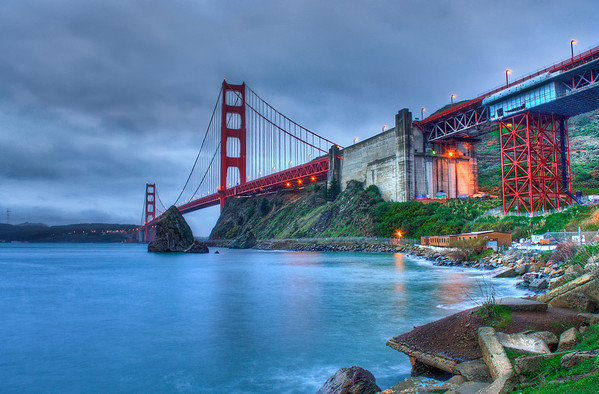 After posting the previous photo to HDRspotting.com I realized it had way too much blue in the water/sky. I went back to the beginning and reprocessed this in Photomatix and then edited in Photoshop. I'm much happier with this version of the photo.  I got up early on Christmas morning with a friend and we drove up to San Francisco to photograph the Golden Gate Bridge. We got lucky and it was completely clear with no fog! This photo was taken from the pier at Horseshoe Bay, below the vista point.  Nikon D80 w/Nikkor 18-70mm f/3.5-4.5G ED-IF AF-S DX:  18 mm, ISO 125 4 images stitched together into an HDR using Photomatix Pro