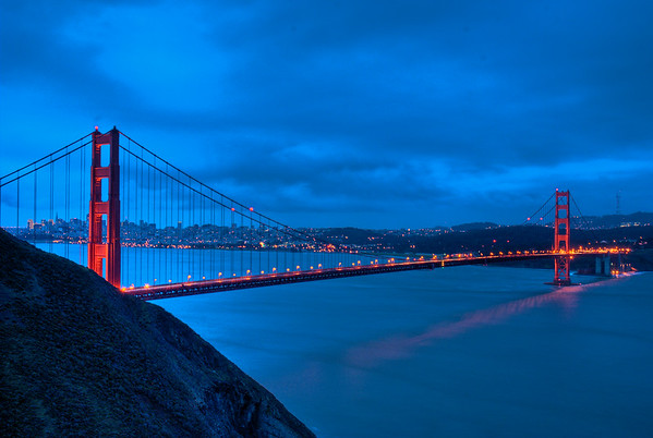 Less blurry picture of the SF Golden Gate bridge at sunrise. Taken from Marin Headlands