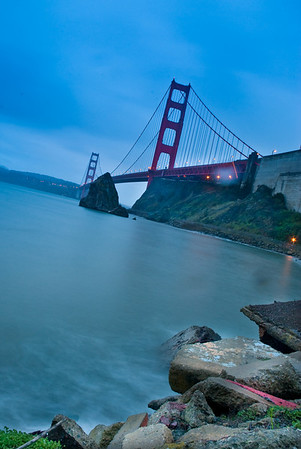 Long exposure of the SF Golden Gate Bridge at sunrise, taken from the pier below the Vista Point (Horseshoe Bay?)