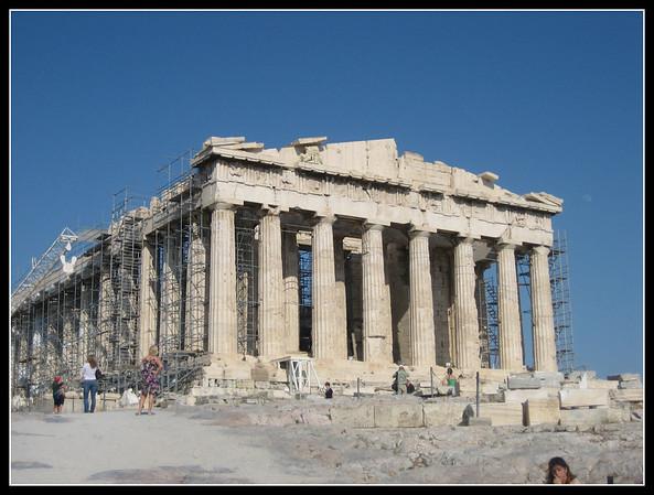 The Acropolis, on top of the Parthenon, Athens.