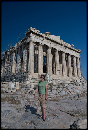 Katy and the Parthenon, in Athens.
