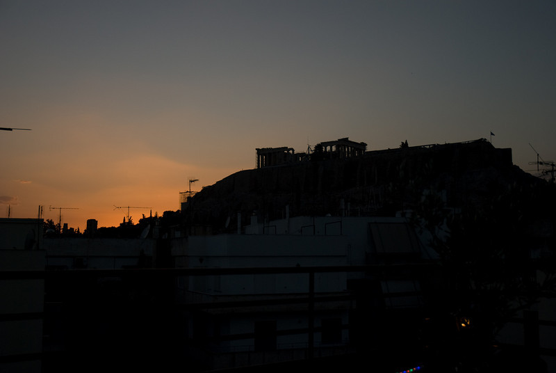 The Acropolis, at night, from the top of our hostel.