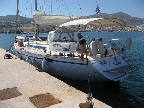 Our boat, the Tahita, docked in Syros.