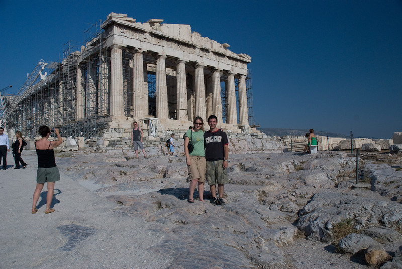 Aaron and Katy in front of the Parthenon, in Athens.