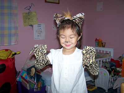 Kaara was a leopard for her school's Noah's Ark Party