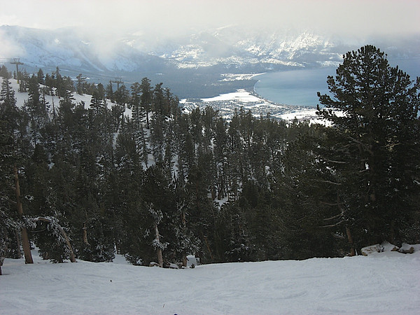 The foggy Lake Tahoe