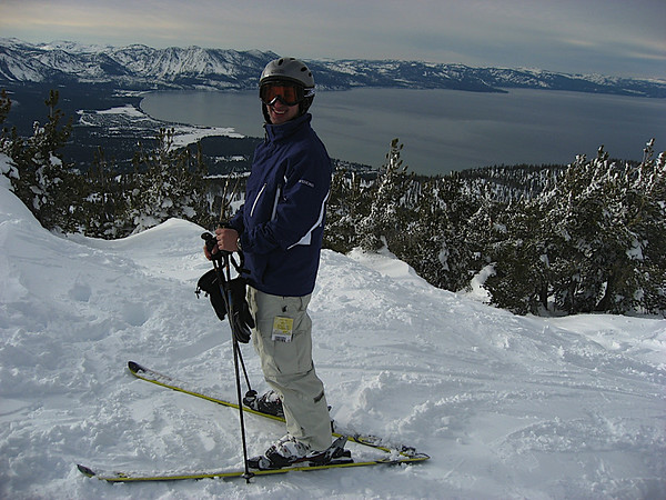 Aaron in front of Lake Tahoe
