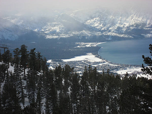 Lake Tahoe and mountains on a cloudy day