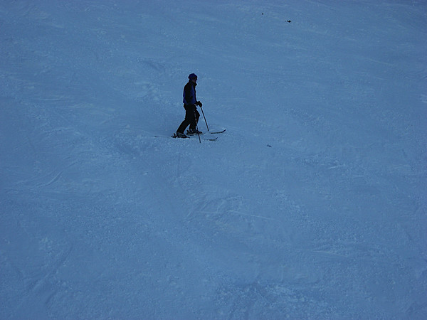 Brian skiing down The Face (Double Black Diamond, and all icey moguls)