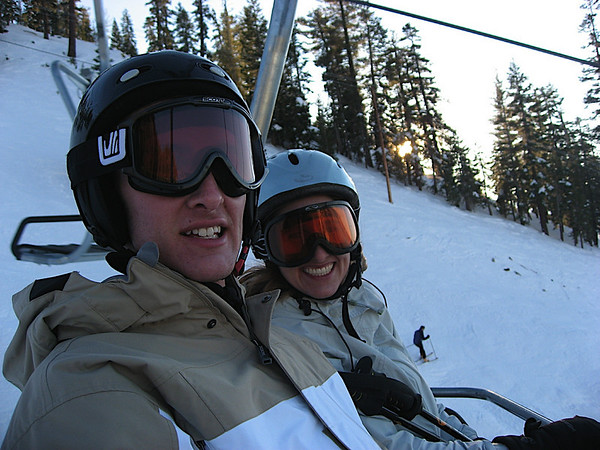 James and Katy as we take the lift *down* (we were tired and thought it was an interesting idea)