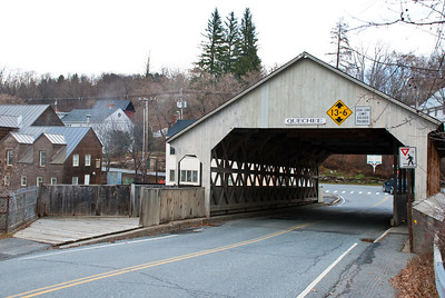 Covered bridge over the river.