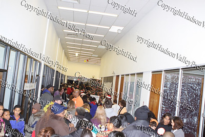 The long line of people that gathered City of Newburgh Christmas Extravaganza held at the Business Resource Center on December 12, 2008.