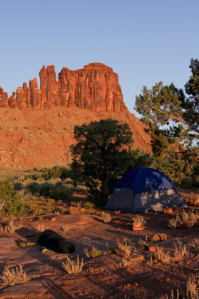 The Bridger Jack spires rise above our cozy campsite in Indian Creek, near Moab.