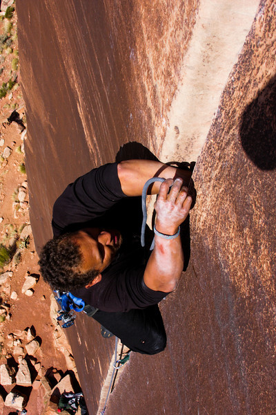 Looking down on Kelsey Gray as he leads <i>Supercrack 5.10</i>.