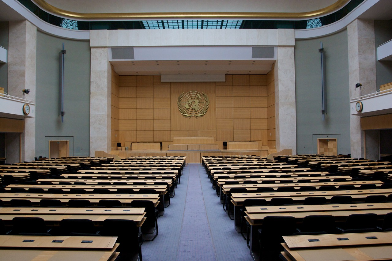 Natural light • The principal assembly-room inside the original Palais des Nations building. There is a large skylight which provides a huge amount of natural light for the room.