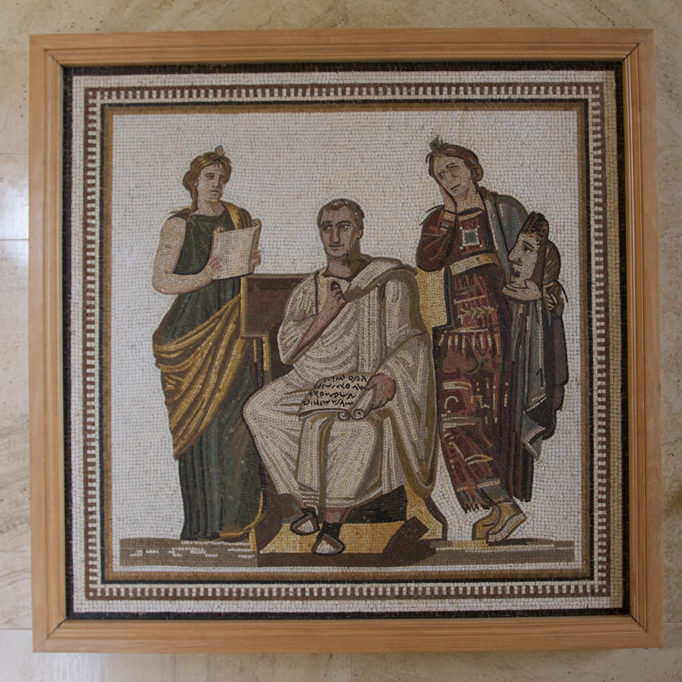 Virgil and two muses • A mosaic on the wall of the Palais des Nations in Geneva. It was given to the Palais in 1995 by the Tunisian government. It is believed to date from the third century AD.