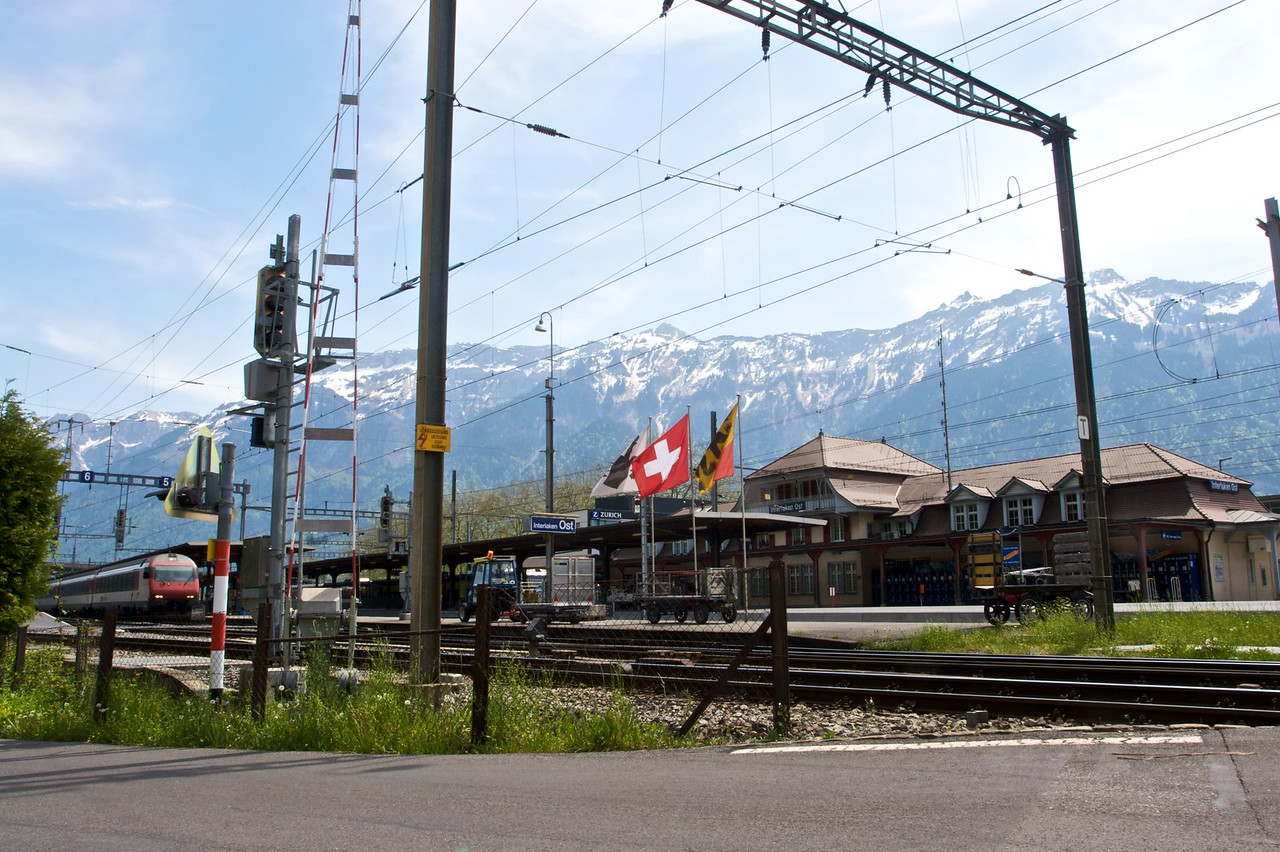 Interlaken Ost railway station, from where I would start my 'panorama train' journey through the Bernese Oberland and down in to the basin of Lake Geneva at Montreux, changing trains at Zweisimmen.