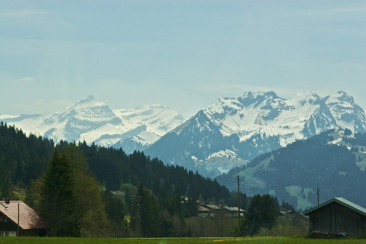 Mountains along the way from Zweisimmen to Montreux.