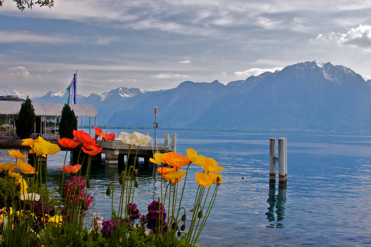 Lake Geneva (Lac Léman): the easternmost end of the lake, at Montreux.