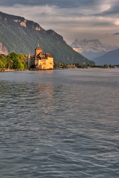The Château de Chillon in a moody HDR-processed image.