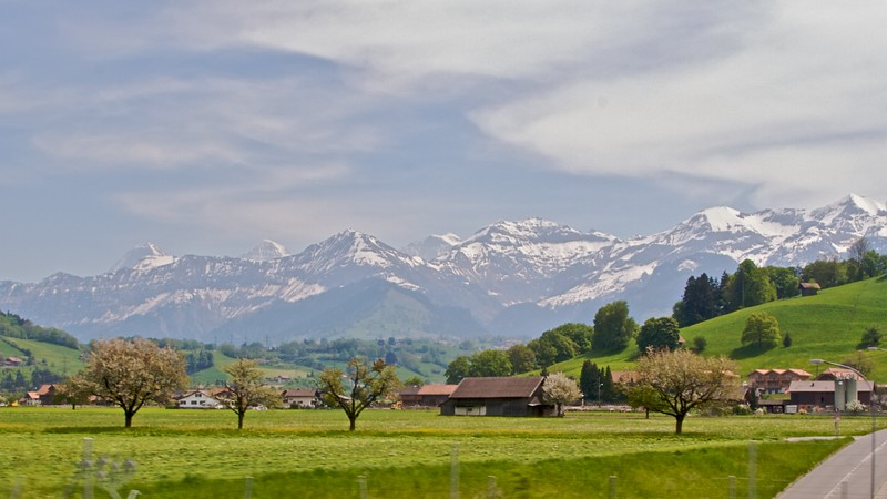 Snow-capped peaks in the Bernese Oberland visible from my panoramic train journey from Interlaken to Zweisimmen.