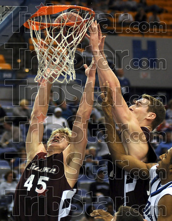 Bounders: Southern's #45, Carlton Fay and #32, Matt Shaw attack a rebound during game action against Indiana State Saturday night at Hulman Center.