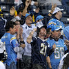 They want the Bolts not the Colts: San Diego fans celebrate with a cheer after the Chargers' 28-24 win Sunday over the Indianapolis Colts at the RCA Dome in Indianapolis.