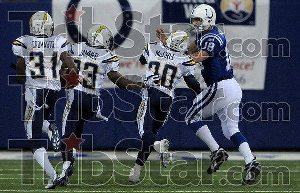 Indianapolis quarterback Peyton Manning is blocked by the Chargers' Marlon McCree and Quentin Jammer as Manning tries to get to San Diego corner back Antonio Cromartie during the Colts' playoff game against the Chargers Sunday  in Indianapolis.