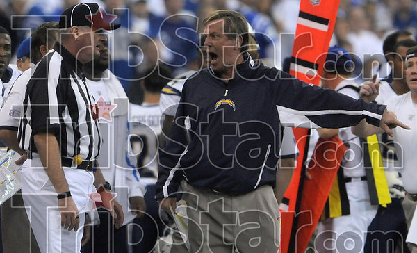San Diego coach Norv Turner argues a holding call that overturned a San Diego touchdown during the Chargers' win over the Colts Sunday in Indianapolis.